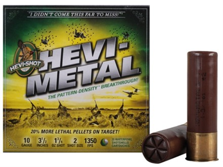 "Hevi-Shot Hevi-Metal Waterfowl Ammunition 10 Gauge 3-1/2"" 1-3/4 oz #2 Hevi-Metal Non-Toxic Shot Box of 25"