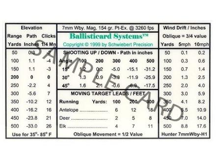 Schwiebert Precision Ballisticard 340WbyH2