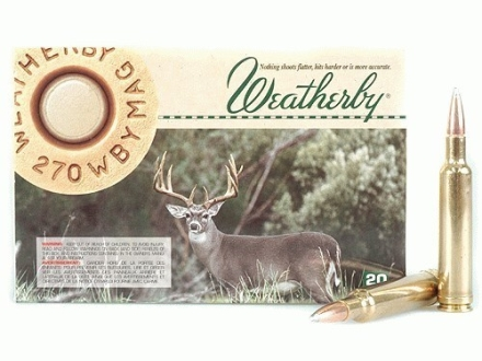 Weatherby Ammunition 270 Weatherby Magnum 130 Grain Nosler Partition Box of 20