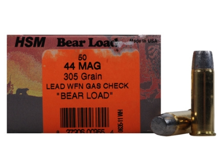 HSM Bear Ammunition 44 Remington Magnum 305 Grain Wide Flat Nose Gas Check Box of 50