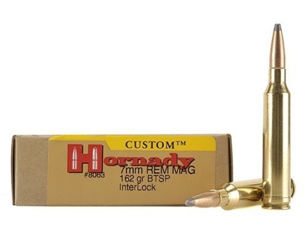 Hornady Custom Ammunition 7mm Remington Magnum 162 Grain InterLock Spire Point Boat Tail Box of 20