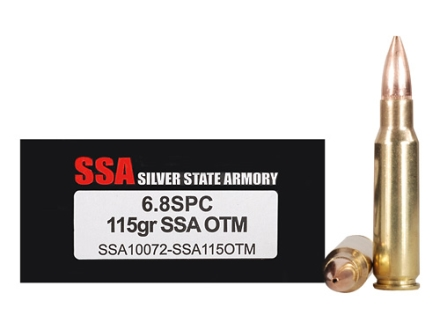Silver State Armory Ammunition 6.8mm Remington SPC 115 Grain SSA Match Hollow Point Boat Tail Box of 20