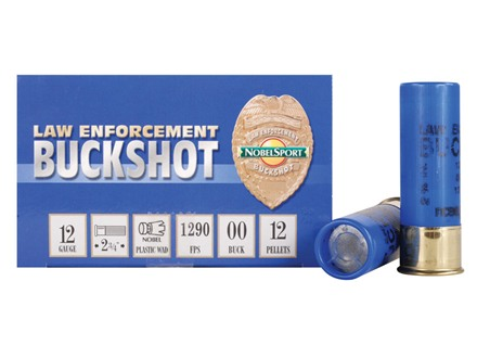 "NobelSport Law Enforcement Ammunition 12 Gauge 2-3/4"" 00 Buckshot 12 Pellets Box of 10"