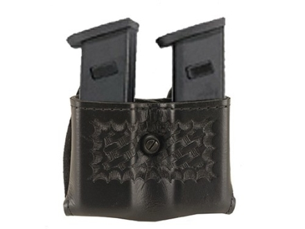 "Safariland 079 Double Magazine Pouch 2-1/4"" Snap-On Colt Government 380, Mustang, S&W Sigma 380, Walther PP, PPK, PPK/S Polymer Basketweave Black"