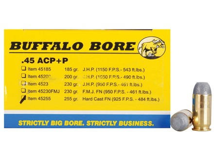 Buffalo Bore Ammunition 45 ACP +P 255 Grain Hard Cast Flat Nose Box of 20