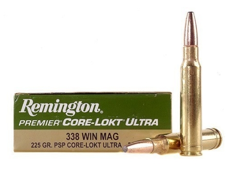 Remington Premier Ammunition 338 Winchester Magnum 225 Grain Pointed Soft Point Core-Lokt Ultra Bonded Box of 20