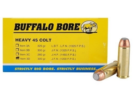 Buffalo Bore Ammunition 45 Colt (Long Colt) 300 Grain Jacketed Flat Nose Box of 50