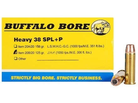 Buffalo Bore Ammunition 38 Special +P 125 Grain Jacketed Hollow Point Box of 20