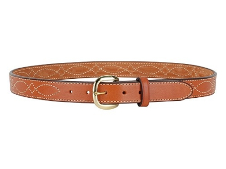"Hunter 5801 Pro-Hide Belt 1-1/4"" Brass Buckle Stitched Leather Brown 36"""