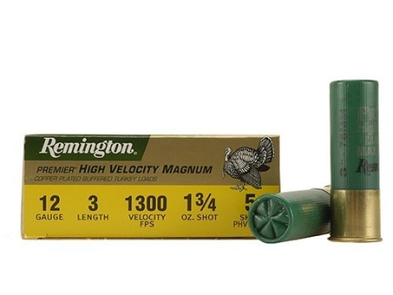 "Remington Premier Magnum Turkey Ammunition 12 Gauge 3"" High Velocity 1-3/4 oz of #5 Copper Plated Shot Box of 10"