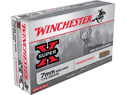 Winchester Super-X Ammunition 7mm Remington Magnum 175 Grain Power-Point Box of 20