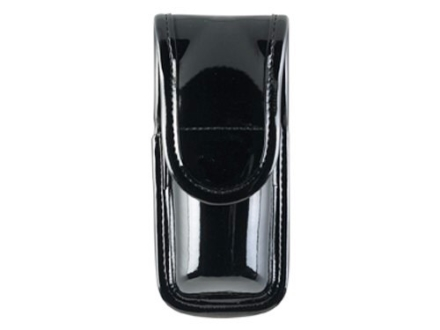 "Bianchi 7907 AccuMold Elite Pepper Spray Pouch Large 7-1/4"" Hidden Snap Synthetic Leather High-Gloss Black"