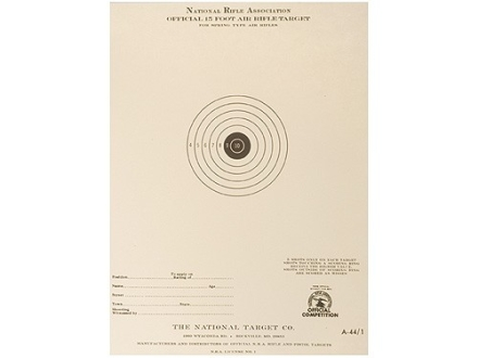 NRA Official Air Rifle Target A-44/1 15' Air Rifle Paper Package of 100
