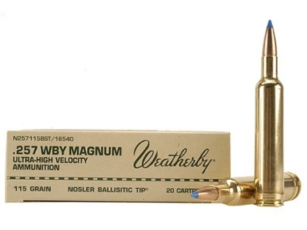 Weatherby Ammunition 257 Weatherby Magnum 115 Grain Nosler Ballistic Tip Box of 20