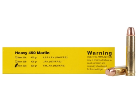 Buffalo Bore Ammunition 450 Marlin 500 Grain Full Metal Jacket Flat Nose Box of 20