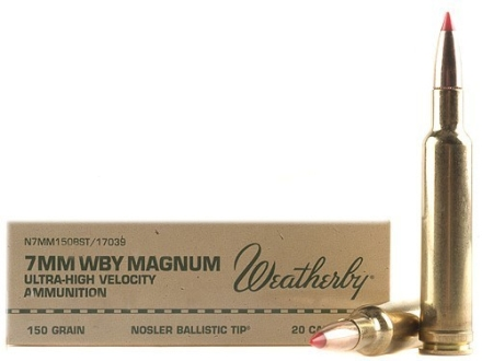 Weatherby Ammunition 7mm Weatherby Magnum 150 Grain Nosler Ballistic Tip Box of 20