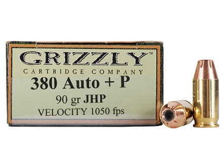 Grizzly Ammunition 380 ACP +P 90 Grain Jacketed Hollow Point Box of 20