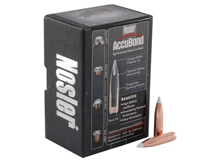 Nosler AccuBond Bullets 264 Caliber, 6.5mm (264 Diameter) 130 Grain Bonded Spitzer Boat Tail Box of 50