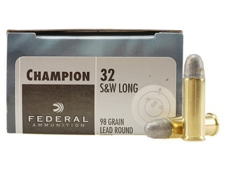 Federal Champion Target Ammunition 32 S&W Long 98 Grain Lead Round Nose Box of 20