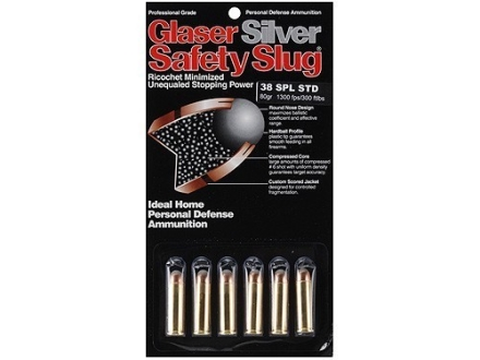 Glaser Silver Safety Slug Ammunition 38 Special 80 Grain Safety Slug Package of 6