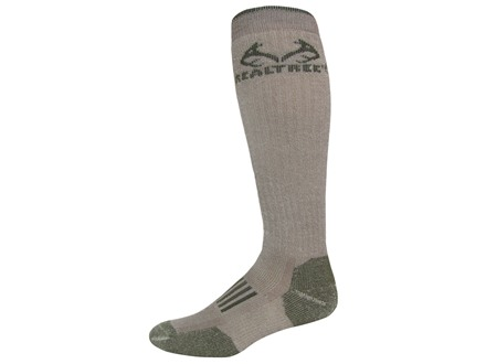 Realtree Men's Merino Heavyweight Tall Boot Socks Merino Wool Blend Tan and Olive Large 9-13