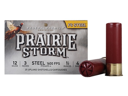 "Federal Premium Prairie Storm Ammunition 12 Gauge 3"" 1-1/8 oz #4 Steel Shot Shot Box of 25"