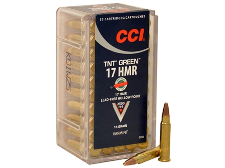 CCI Ammunition 17 Hornady Magnum Rimfire (HMR) 16 Grain Speer TNT Green Hollow Point Lead-Free Box of 50