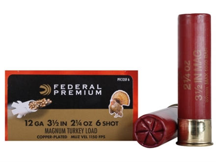 "Federal Premium Mag-Shok Turkey Ammunition 12 Gauge 3-1/2"" 2-1/4 oz #6 Copper Plated Shot High Velocity Box of 10"