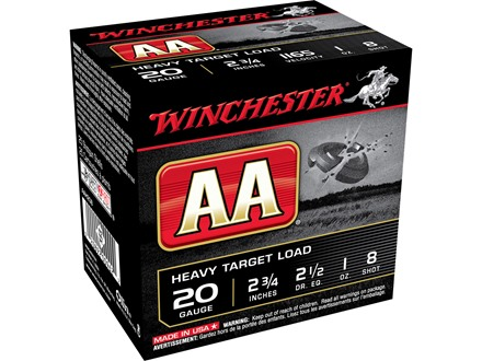 "Winchester AA Heavy Target Ammunition 20 Gauge 2-3/4"" 1 oz #8 Shot"