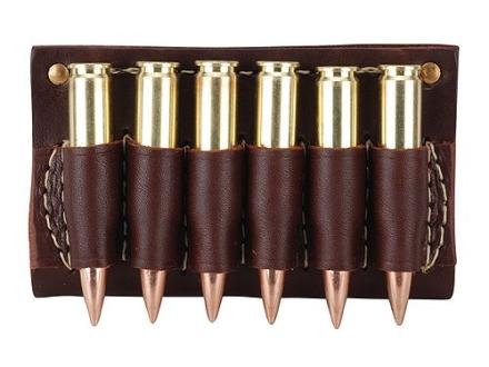 Hunter Cartridge Belt Slide Pistol Ammunition Carrier 45 Caliber Straight-Wall Rifle 6-Round Leather Brown
