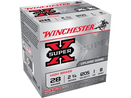 "Winchester Super-X High Brass Ammunition 28 Gauge 2-3/4"" 1 oz #8 Shot Box of 25"