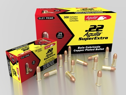 Aguila High Velocity Ammunition 22 Short 29 Grain Plated Lead Round Nose Box of 500 (10 Boxes of 50)
