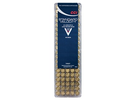 CCI Standard Velocity Ammunition 22 Long Rifle 40 Grain Lead Round Nose Box of 100