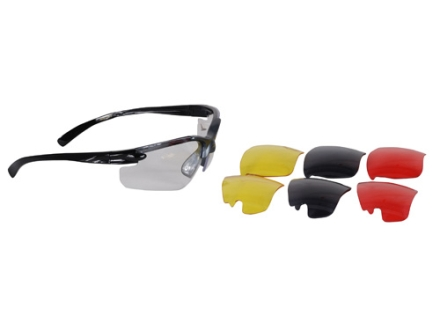 Ruger Shooting Glasses Black/Gray Frame Clear, Yellow, Vermilion and Smoke Lens