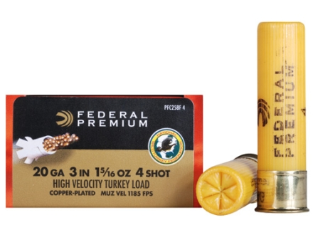 "Federal Premium Mag-Shok Turkey Ammunition 20 Gauge 3"" 1-5/16 oz #4 Copper Plated Shot High Velocity Box of 10"