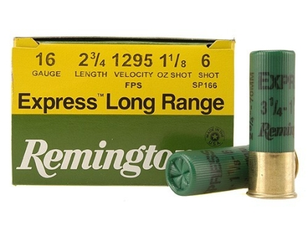 "Remington Express Long Range Ammunition 16 Gauge 2-3/4"" 1-1/8 oz #6 Shot Box of 25"