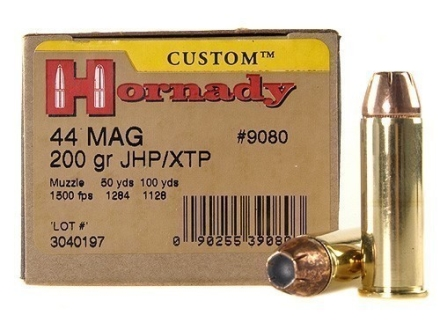 Hornady Custom Ammunition 44 Remington Magnum 200 Grain XTP Jacketed Hollow Point Box of 20