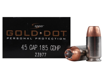 Speer Gold Dot Ammunition 45 GAP 185 Grain Jacketed Hollow Point Box of 20