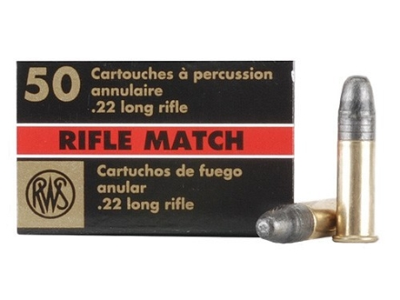 RWS Match Ammunition 22 Long Rifle 40 Grain Lead Round Nose Box of 50