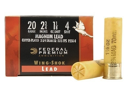 "Federal Premium Wing-Shok Ammunition 20 Gauge 2-3/4"" 1-1/8 oz Buffered #4 Copper Plated Shot Box of 25"
