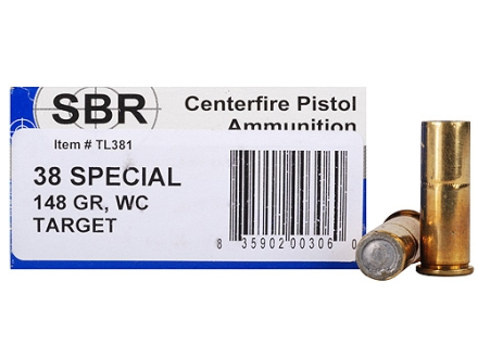 SBR Target Ammunition 38 Special 148 Grain Double Ended Wadcutter Box of 50