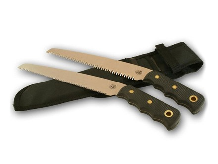 "Knives of Alaska Bone/Wood Saw Combination Fixed Blade Saw Set 8"" SK5 Steel Blade SureGrip Handle Black"