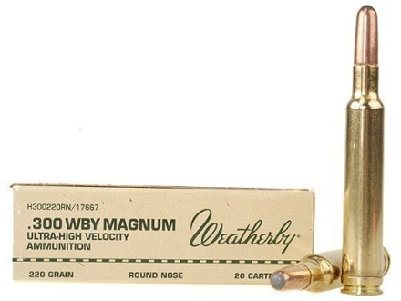Weatherby Ammunition 300 Weatherby Magnum 220 Grain Hornady Round Nose Expanding Box of 20