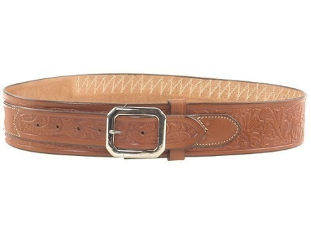 "Hunter Cartridge Belt ""Cowboy"" Style 45 Caliber Tooled Leather Brown Large 40 to 45"""