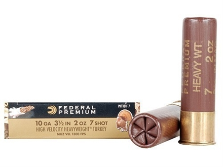 "Federal Premium Mag-Shok Turkey Ammunition 10 Gauge 3-1/2"" 2 oz #7 Heavyweight Non-Toxic Shot Flitecontrol Wad Box of 5"