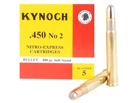Kynoch Ammunition 450 Number 2 Nitro Express 480 Grain Woodleigh Welded Core Soft Point Box of 5