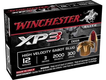 "Winchester Supreme Elite Ammunition 12 Gauge 3"" 300 Grain XP3 Sabot Slug Lead-Free Box of 5"