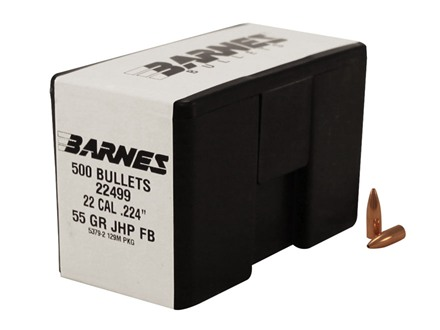 Barnes Bullets 22 Caliber (224 Diameter) 55 Grain Jacketed Hollow Point Flat Base Box of 500