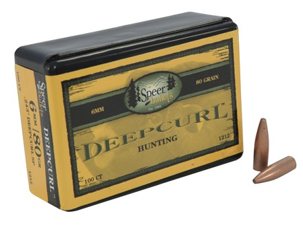 Speer DeepCurl Bullets 243 Caliber, 6mm (243 Diameter) 80 Grain Bonded Soft Point Box of 100