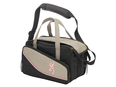 Browning Cimmaron For Her Two Pistol Range Bag Taupe/Black with Pink Trim